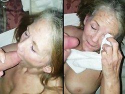 mamie - Une mamie de 70 ans encaisse un gros facial après la pipe